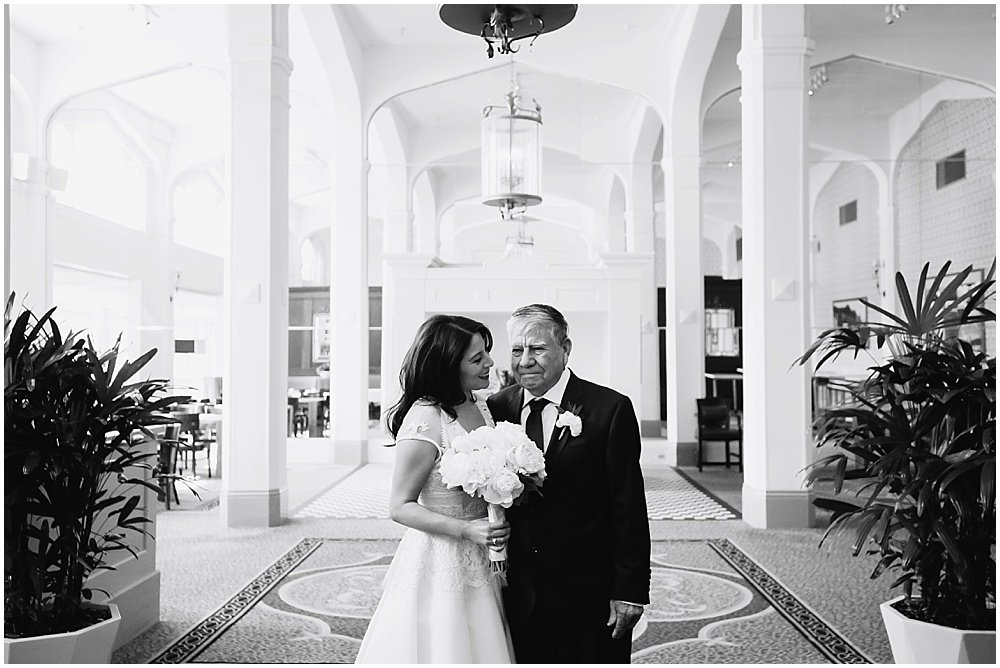 Bride and father share a moment at Claremont Hotel wedding by chloe jackman photography