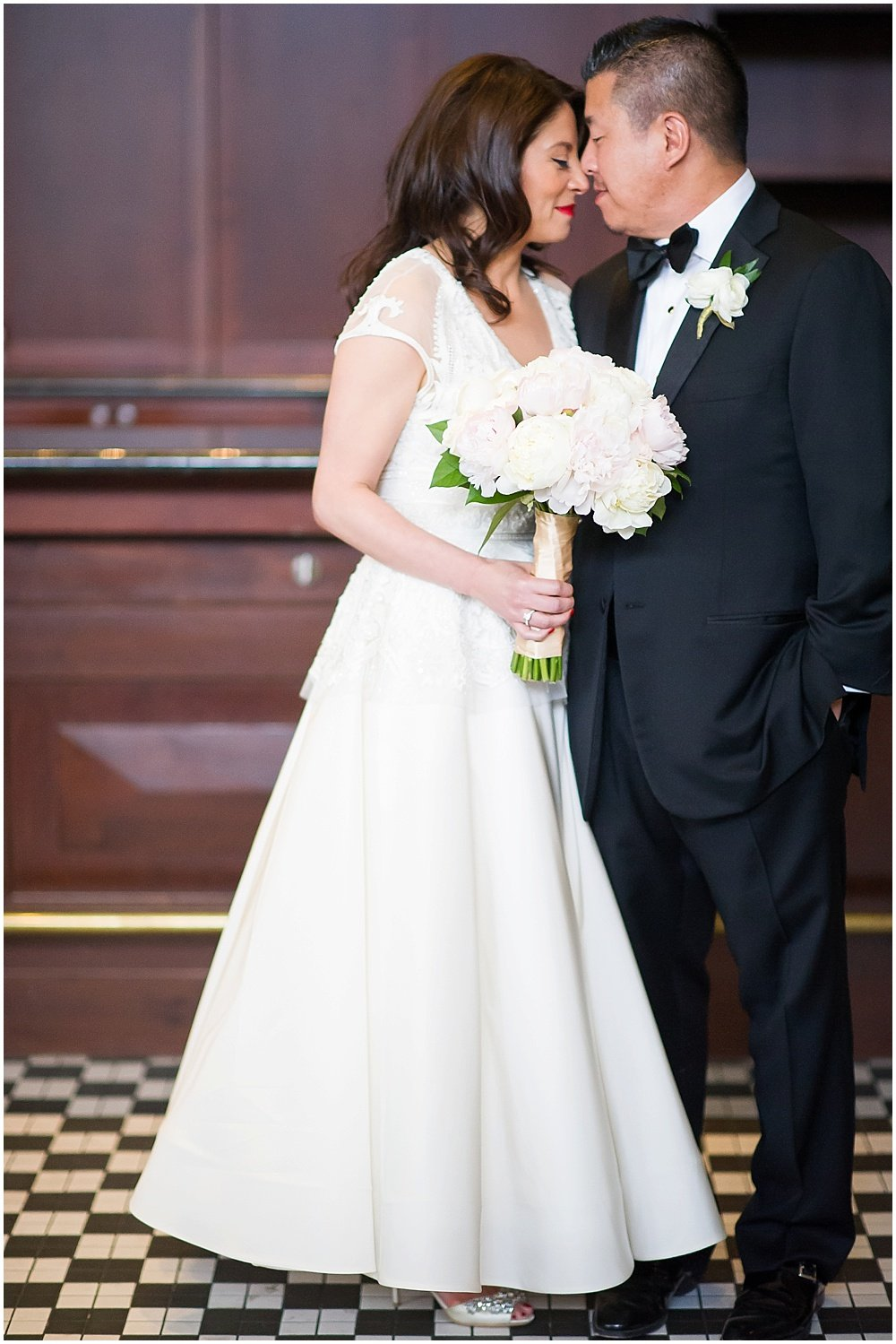 Forehead boop of bride and groom at claremont hotel wedding by Chloe Jackman Photography