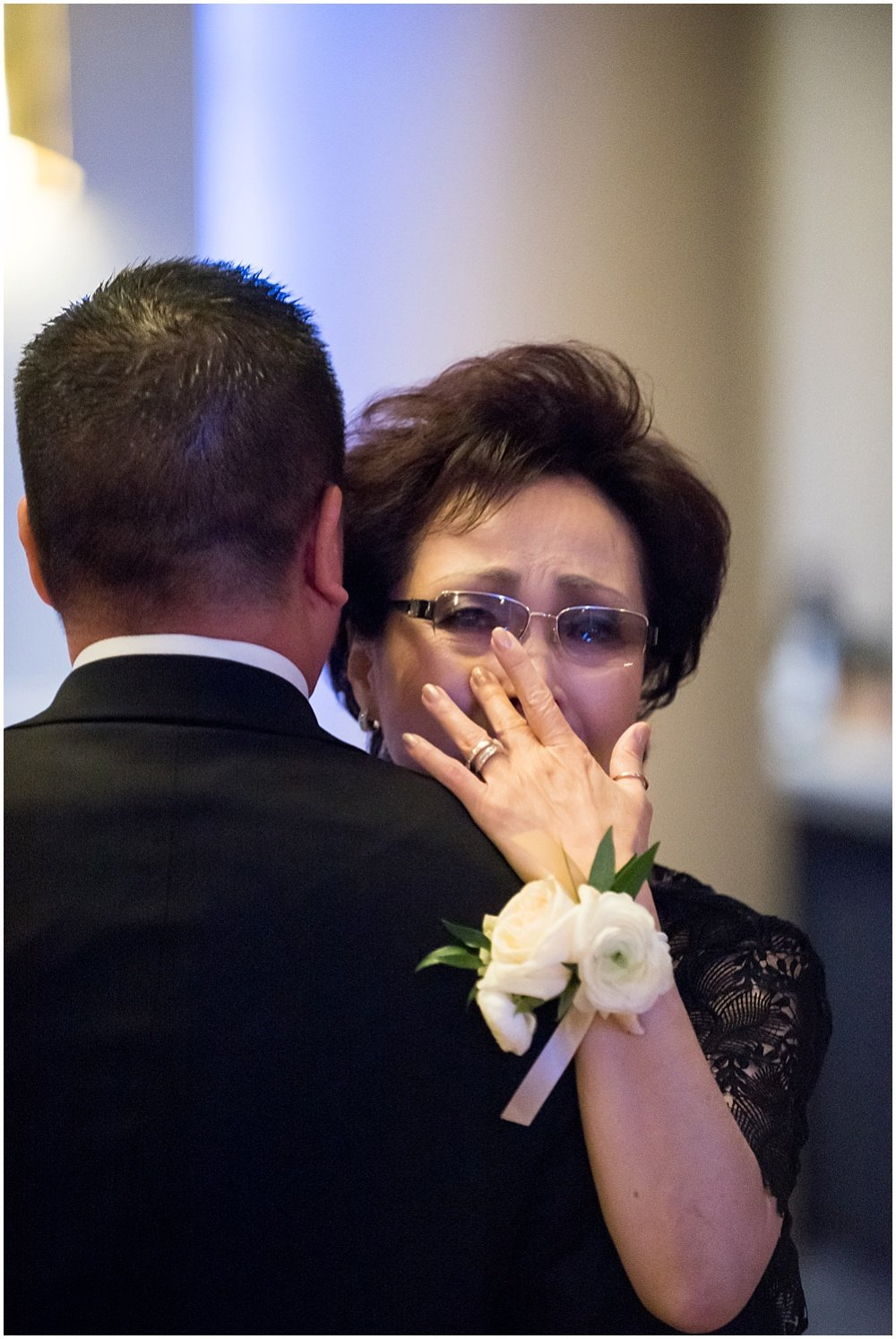 Grooms mother tears up while dancing with groom at claremont hotel wedding