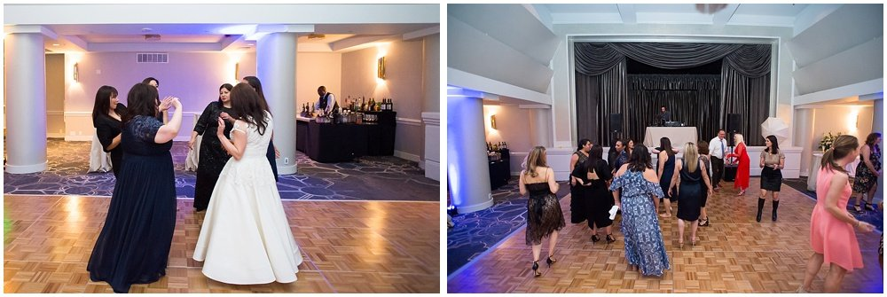 dancing at the reception of claremont hotel wedding