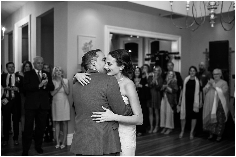 Bride and groom dance at General's Daughter wedding by Chloe Jackman photography