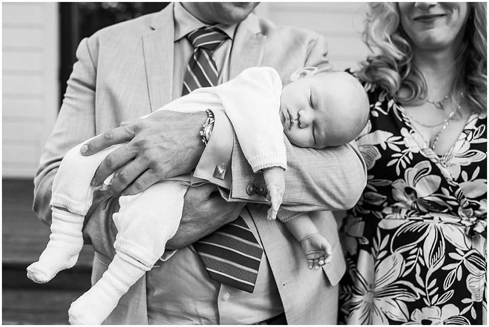 Baby sleeping at General's Daughter wedding