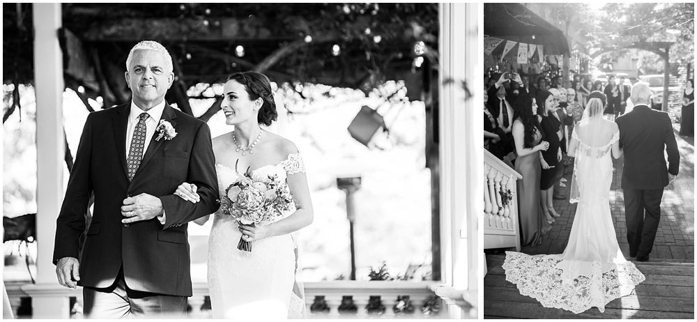 Bride and father walking down aisle at General's Daughter Wedding by chloe jackman photography