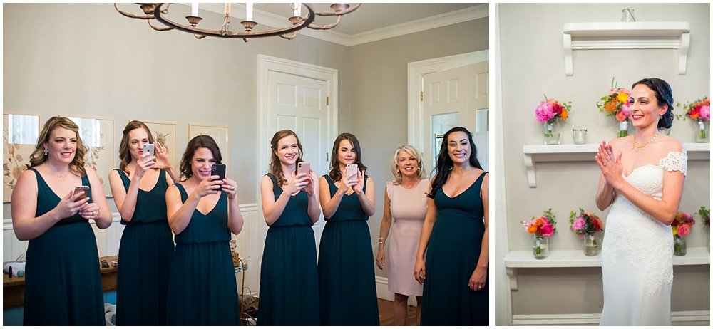 Bridesmaids taking photo of bride at General's Daughter Wedding