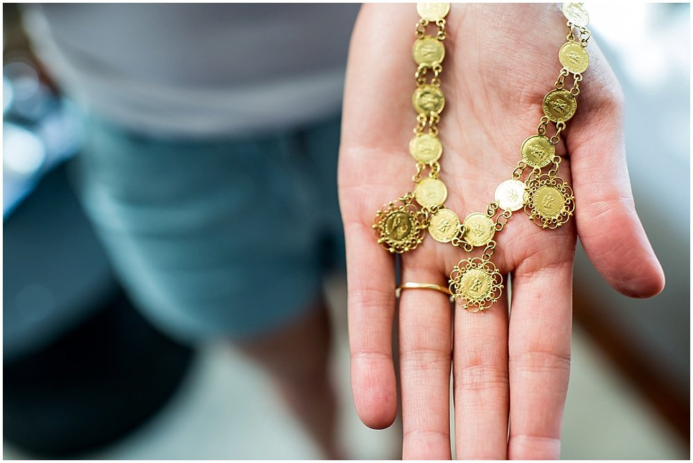 Hand made gold necklace for bride at General's Daughter Wedding by Chloe Jackman Photography