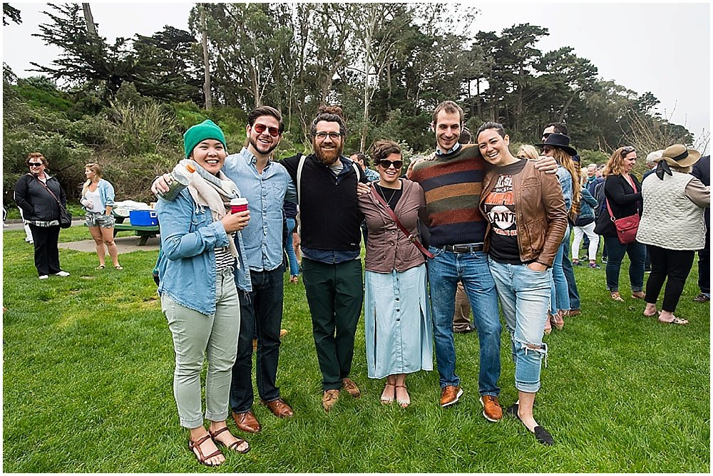 Group picture of guests in attendance at wedding in golden gate park