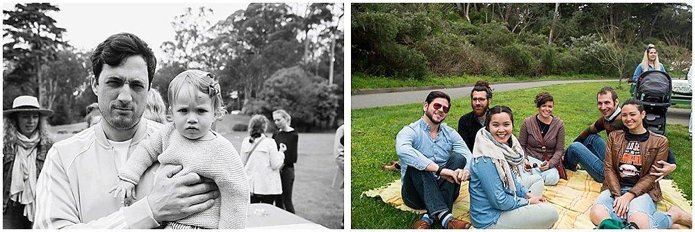 Guests in denim at Golden Gate Park wedding