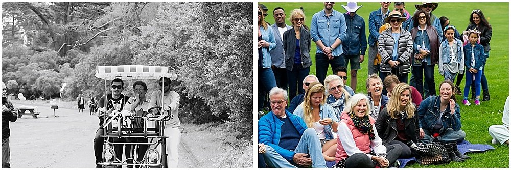 Guests watch bride and groom get married with smiles at golden gate park wedding