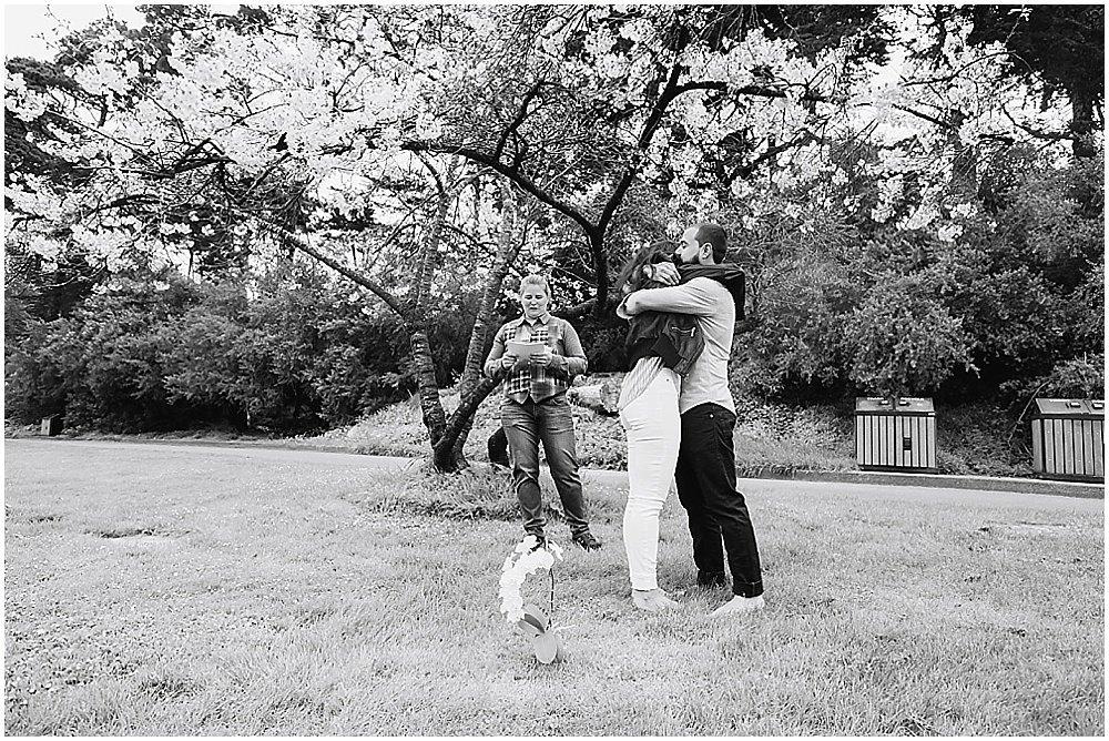 Bride and Groom hug at golden gate park wedding