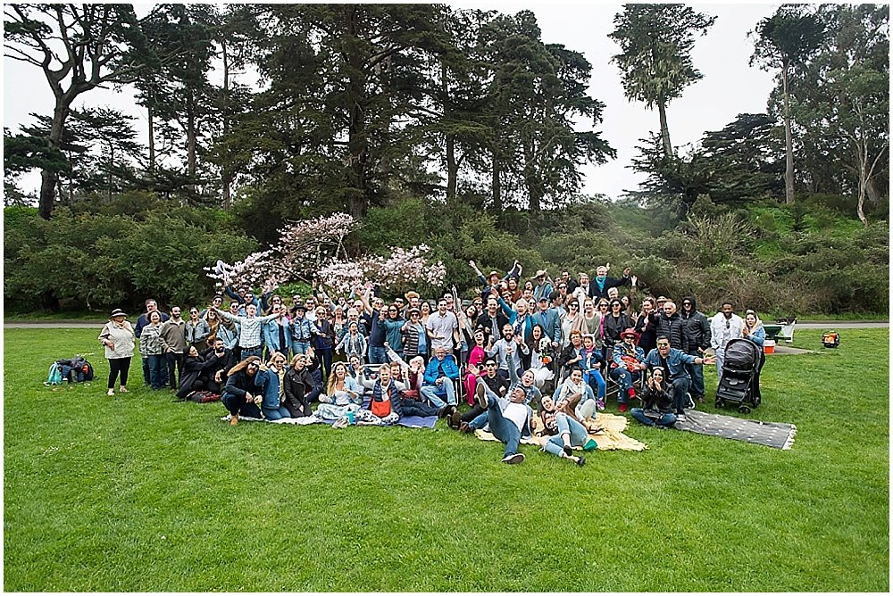 Group shot of wedding guests and party at golden gate park wedding