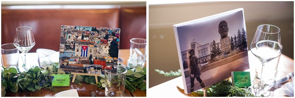 Table photos of trip destinations at the commissary wedding in san francisco