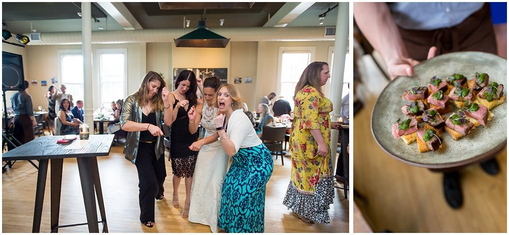 Guests enjoy mini steak toast at the reception at the commissary wedding in san francisco