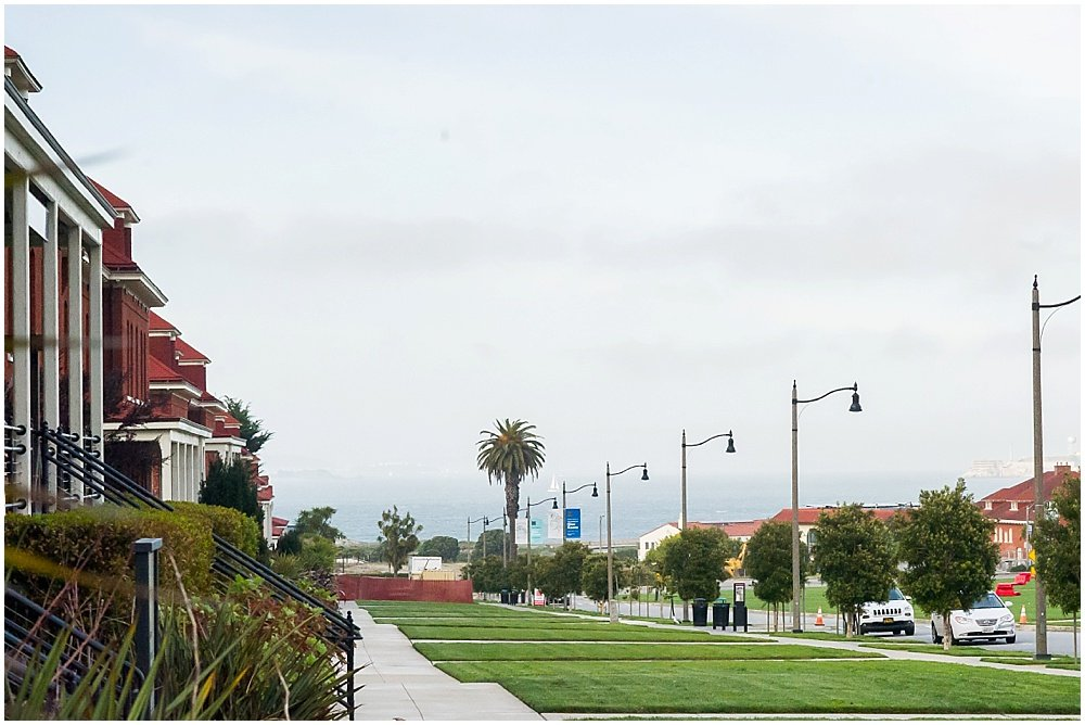 outside shot of the presidio at the commissary wedding in san francisco