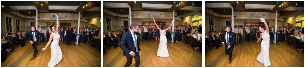 Bride and groom dance off at the commissary wedding in san francisco