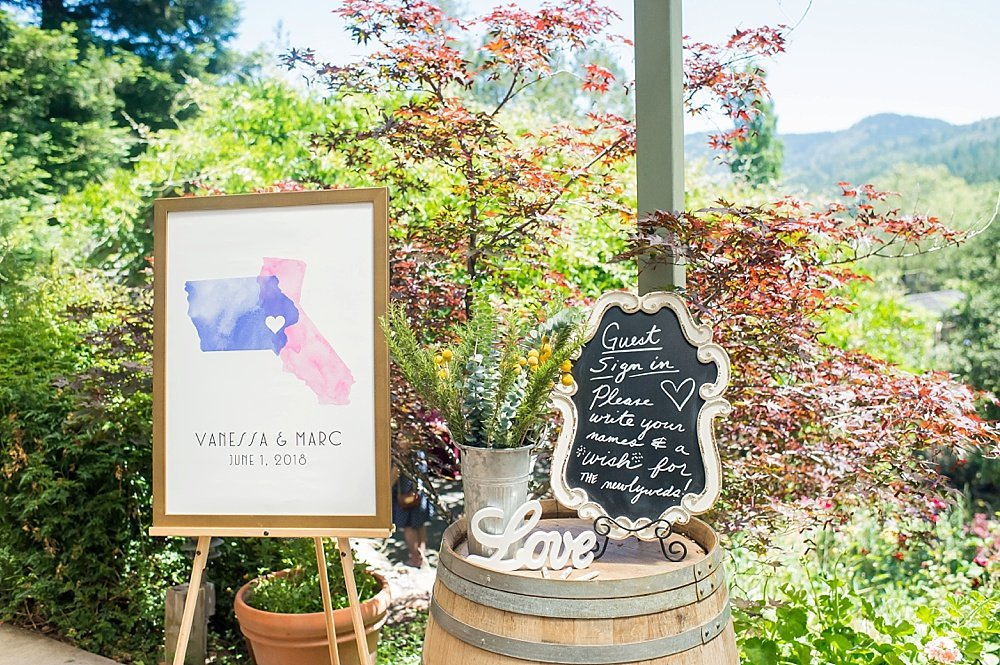 Welcome sign for hans fahden winery wedding