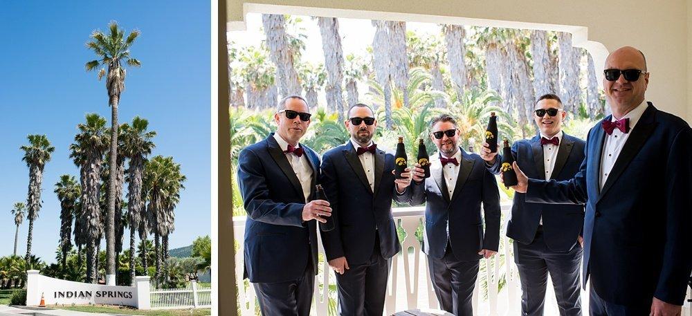 Grooms drinking beer before hans fahden winery wedding
