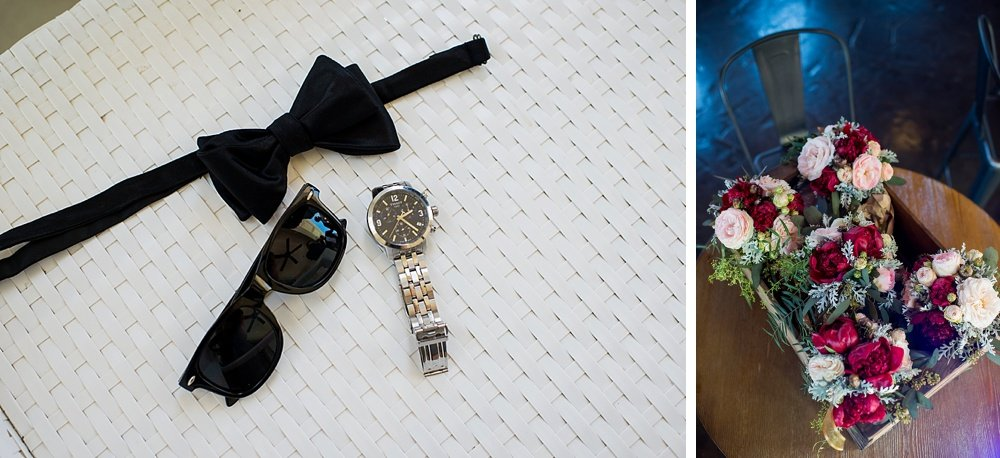 Grooms tie and watch as well as flowers for bridesmaids before hans fahden winery wedding