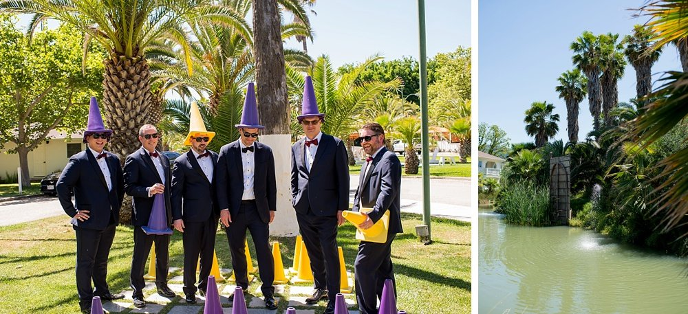 Groomsmen with cones on their heads before hans fahden winery wedding