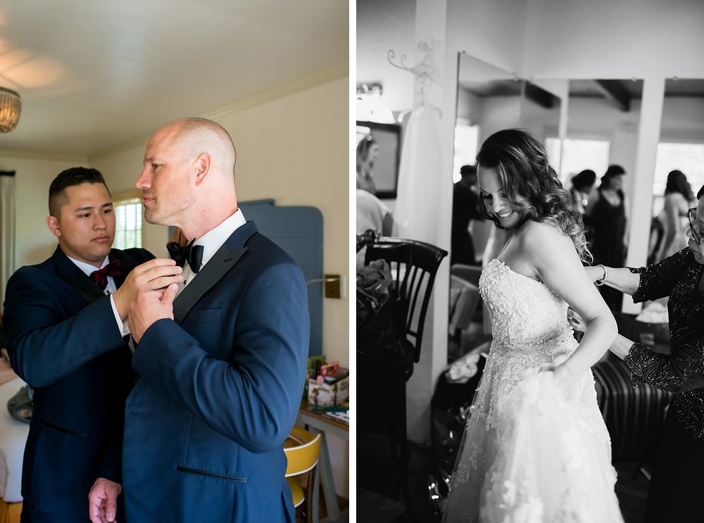 Bride and groom final touches before hans fahden winery wedding by chloe jackman photography