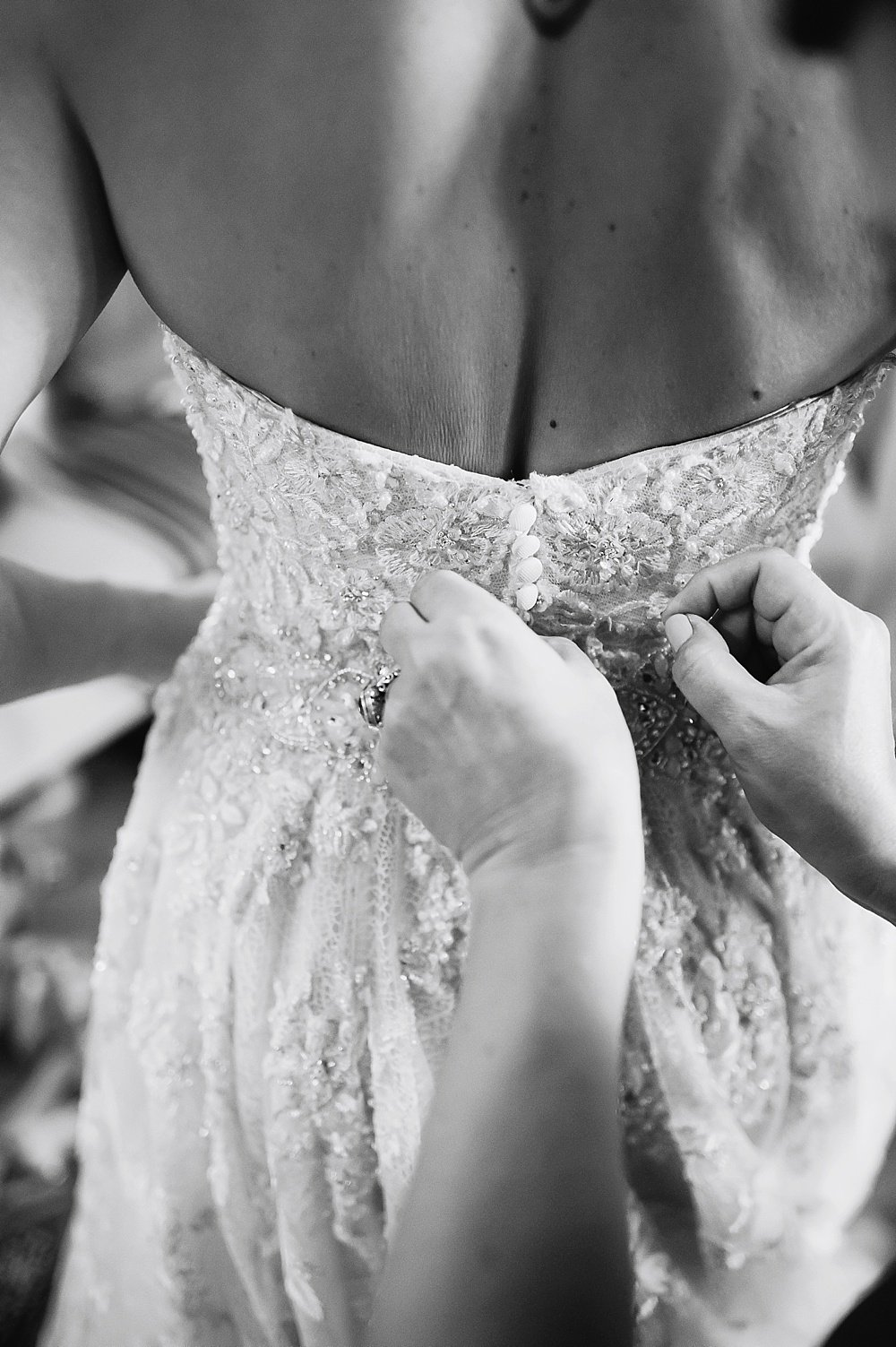 Close up of the back of the bridal gown before hans fahden winery wedding