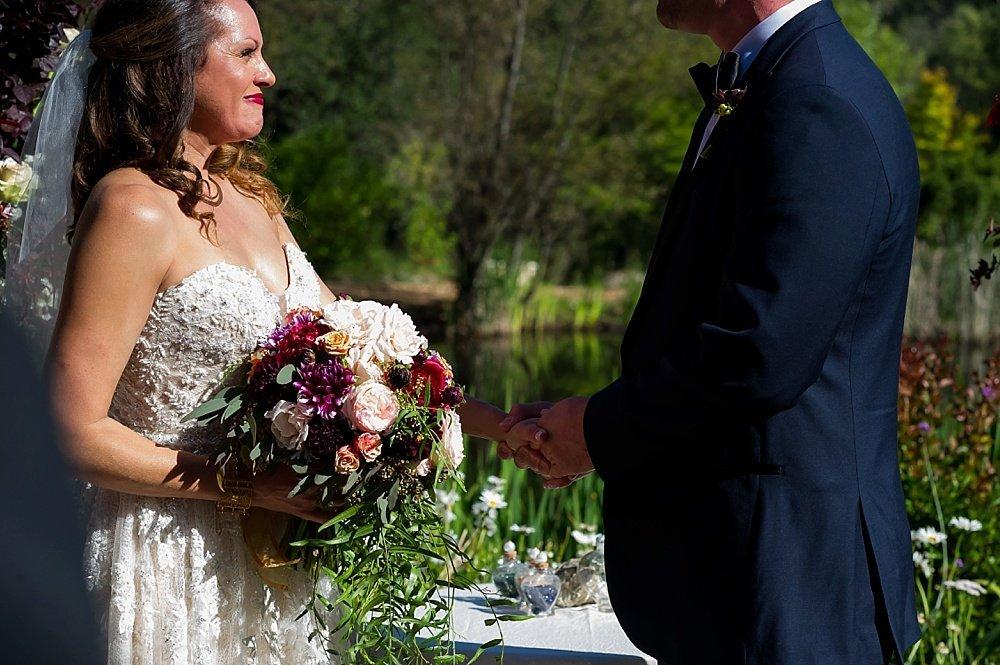 bride tears up at alter of hans fahden winery wedding