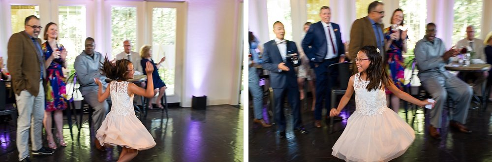 flower girl dancing at hans fahden winery wedding