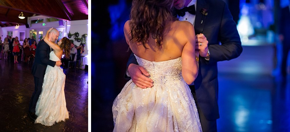 Bride and groom first dance at hans fahden winery wedding
