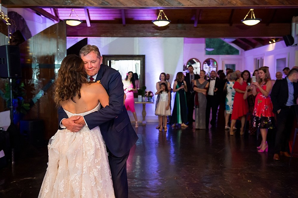 Father of the bride dance at hans fahden winery wedding by chloe jackman photography