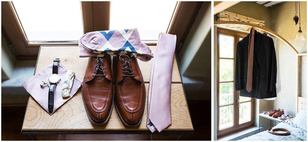 Groom's tux and accessories before midsummer Sebastopol wedding