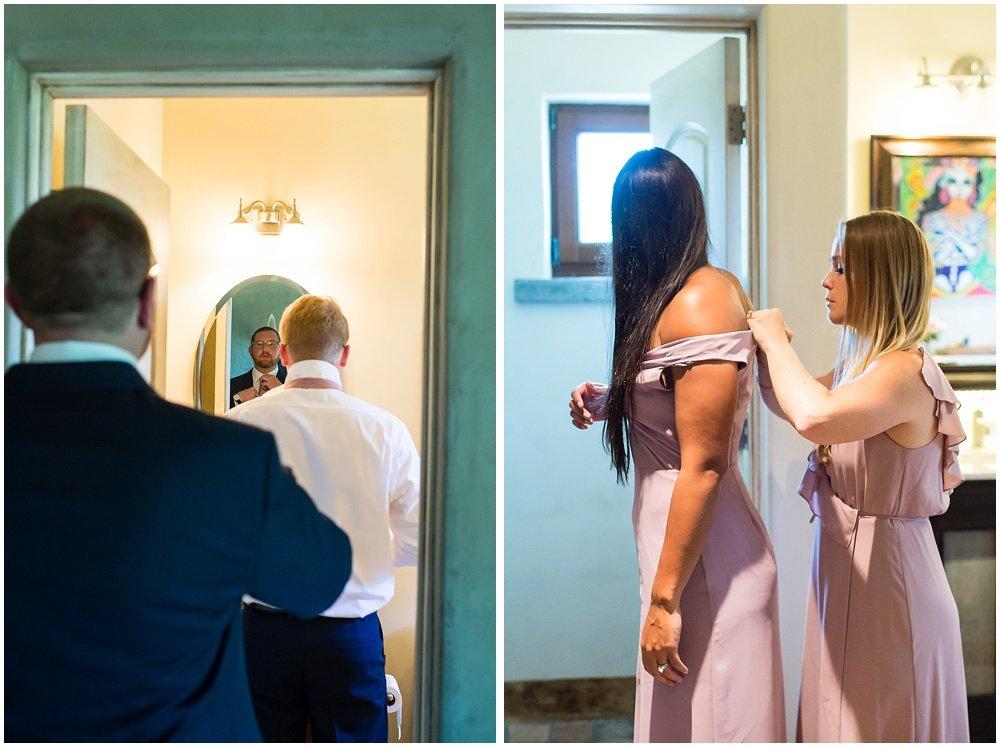 Groomsmen and bridesmaids getting ready before midsummer Sebastopol wedding