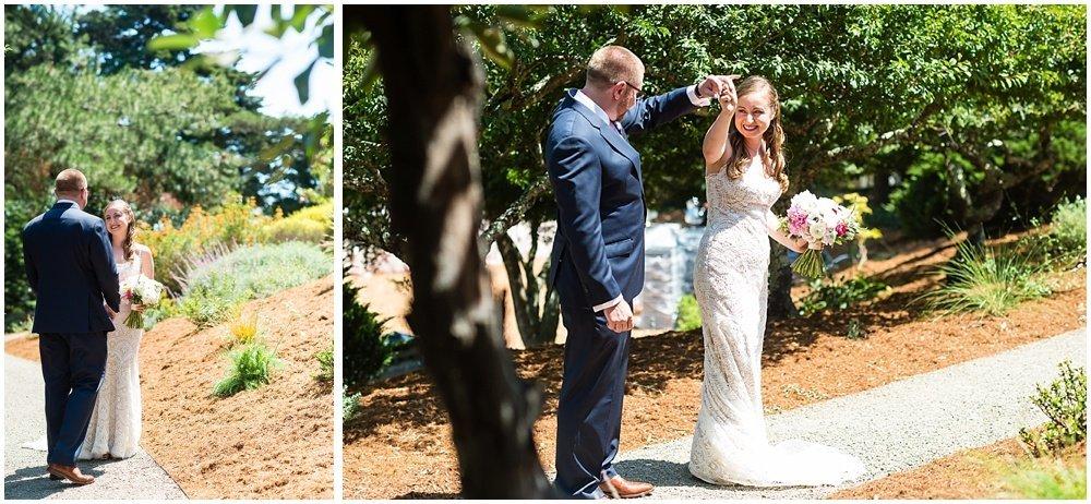 Groom gives bride a twirl at midsummer Sebastopol wedding