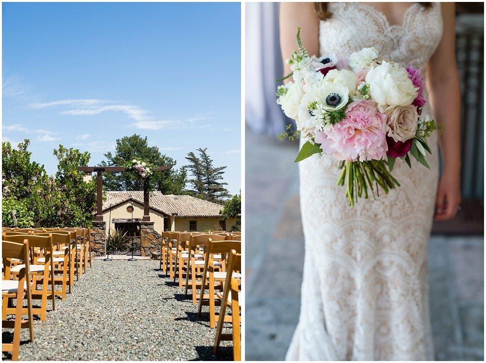 venue details and floral arrangement at midsummer Sebastopol wedding