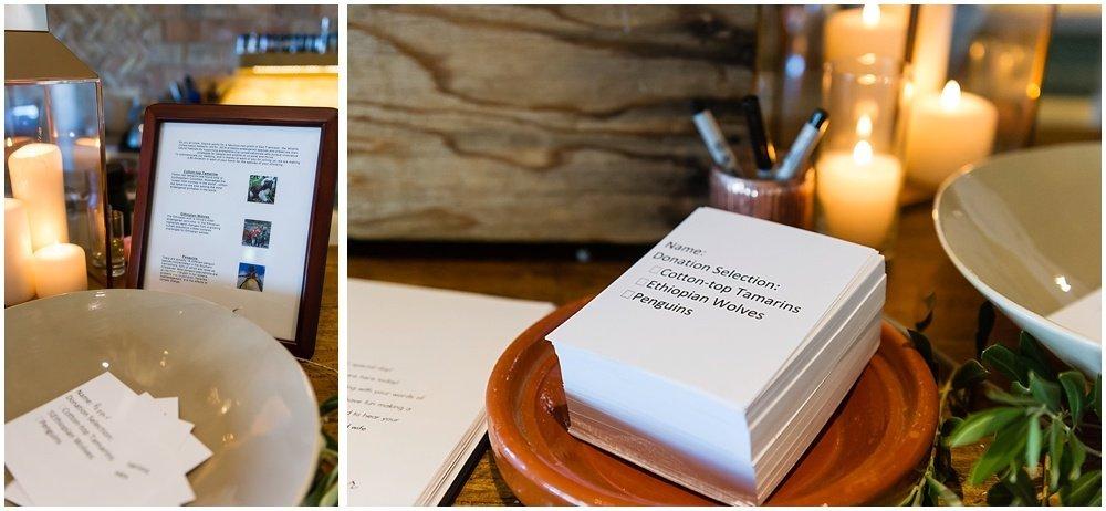 Donation options at midsummer Sebastopol wedding