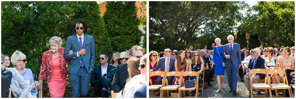 family walks down aisle at midsummer Sebastopol wedding