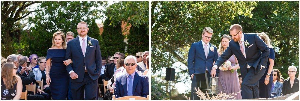 groom walks down aisle at midsummer Sebastopol wedding