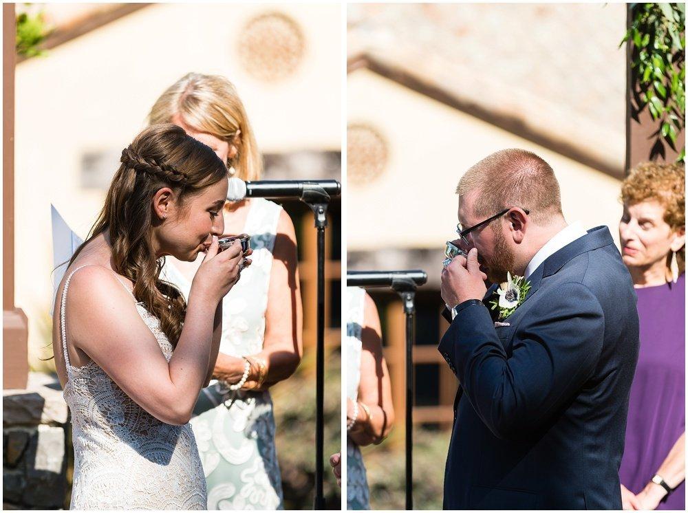 Bride and groom cup ceremony at midsummer sebastopol wedding by chloe jackman photography