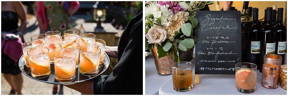 signature cocktails at midsummer sebastopol wedding