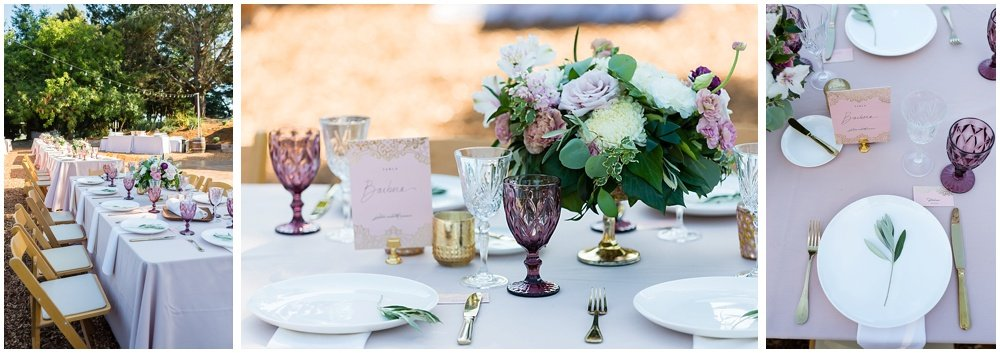 Table setting at midsummer sebastopol wedding by chloe jackman photography