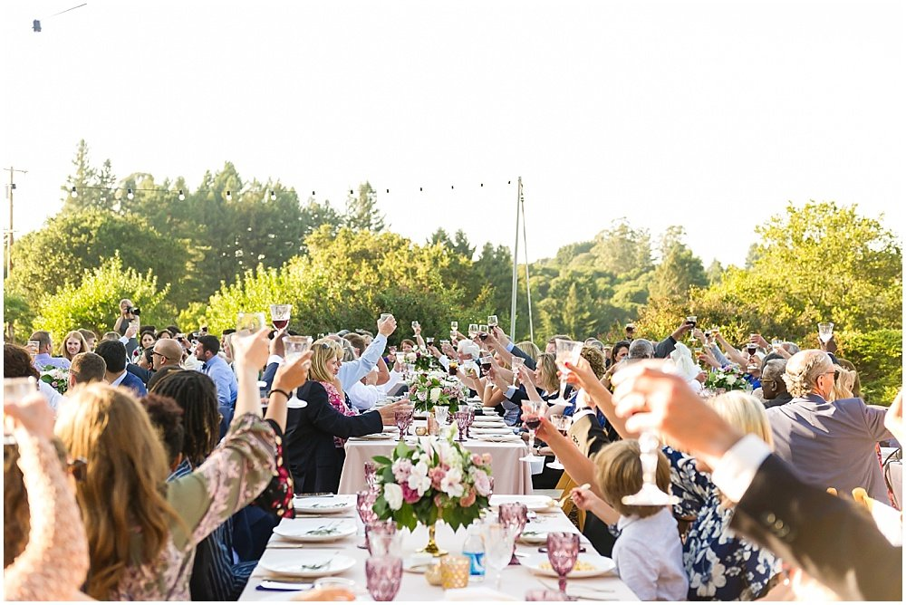Cheers at midsummer sebastopol wedding by chloe jackman photography