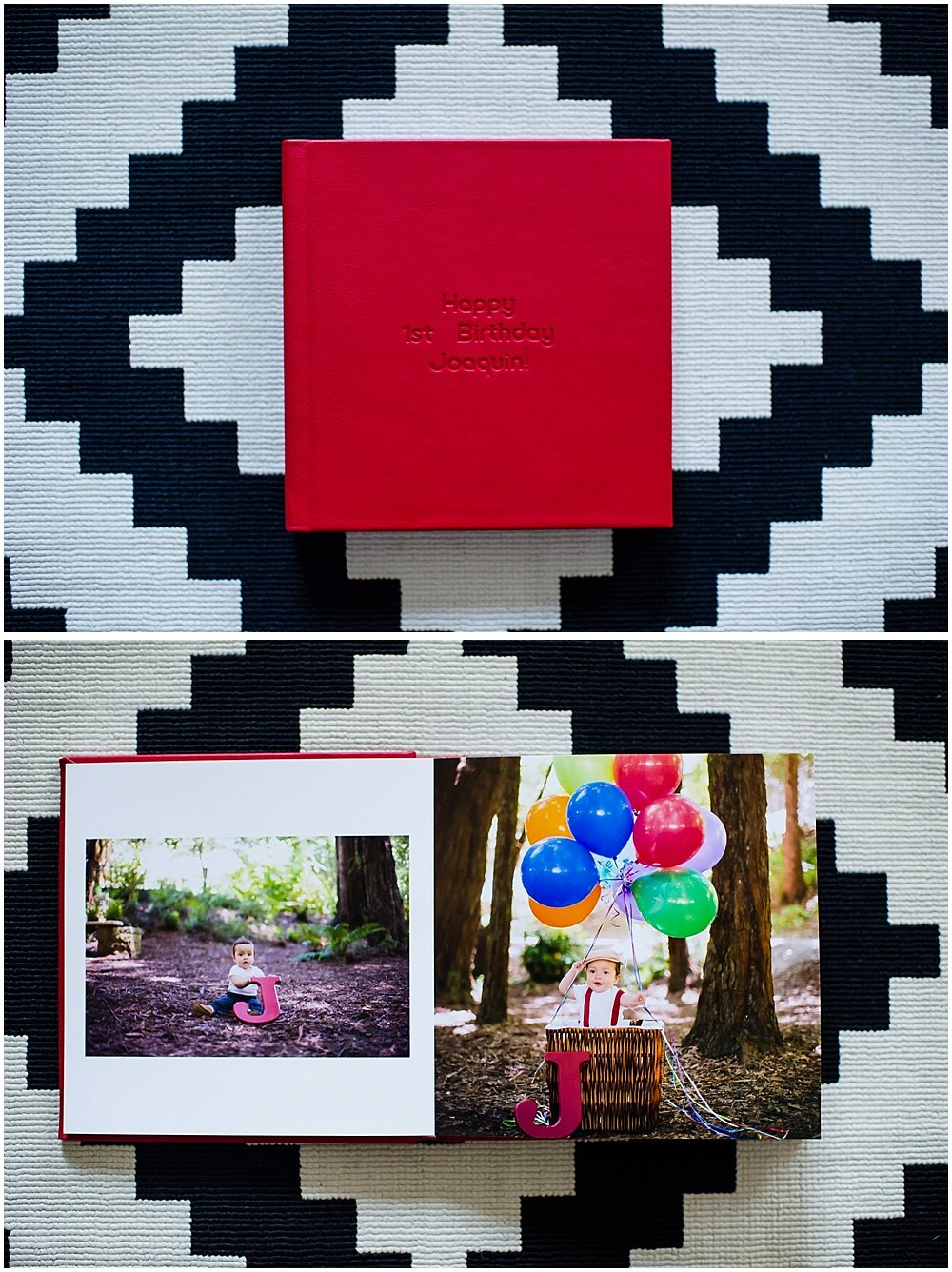 Cover and inside of Adriana photo album by chloe jackman photography