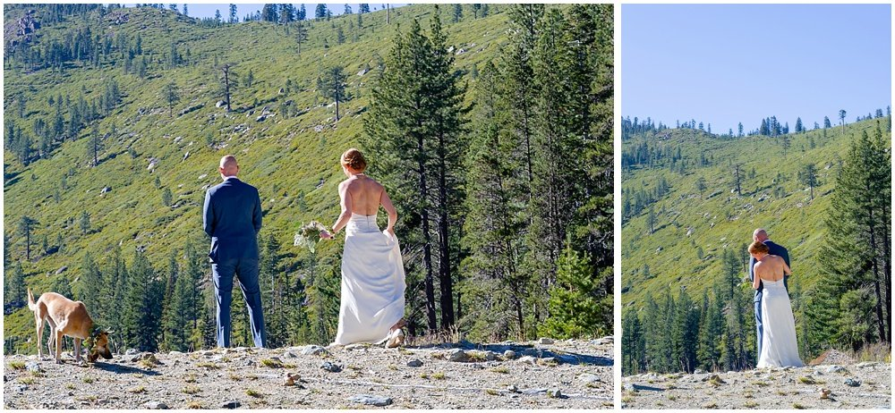 Bride sneaks up on groom at gray eagle lodge wedding