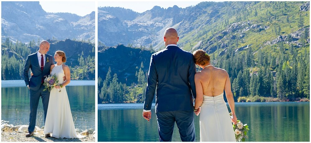 bride and groom being cute by the lake at gray eagle lodge wedding