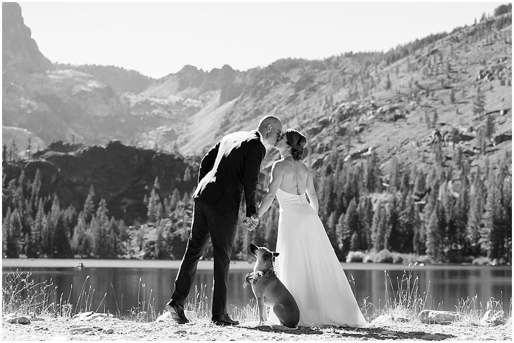 bride and groom kiss by lake as dog looks up at them at gray eagle lodge wedding by chloe jackman photography