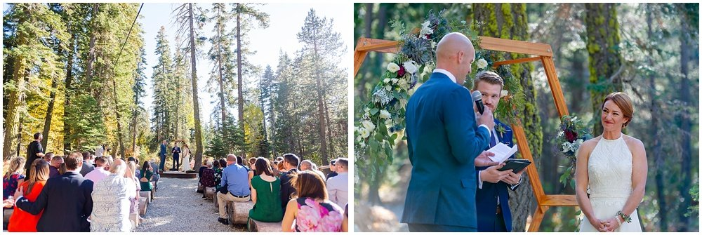 bride and groom speak at gray eagle lodge wedding