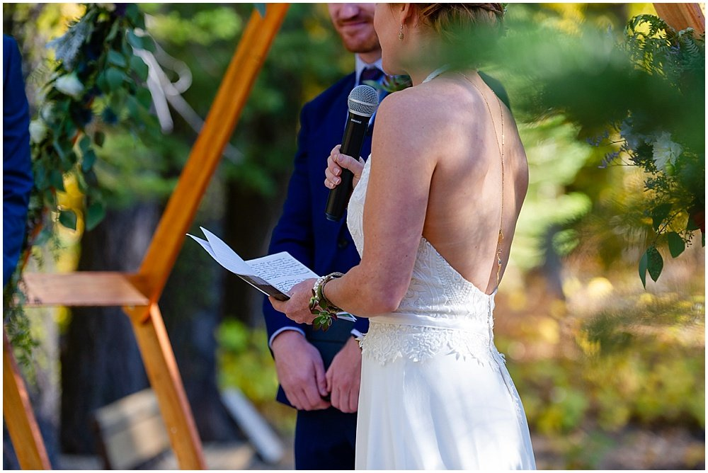 brides speech at gray eagle lodge wedding