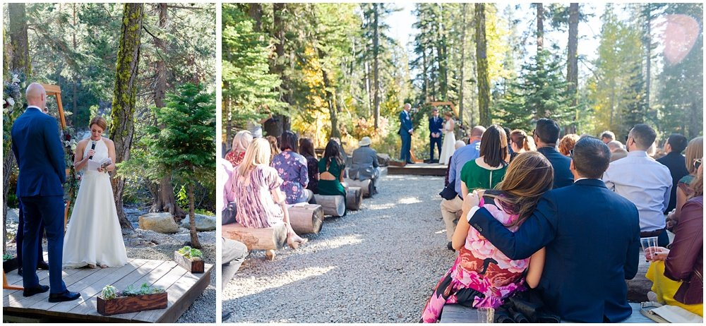 crowd looks on at gray eagle lodge wedding