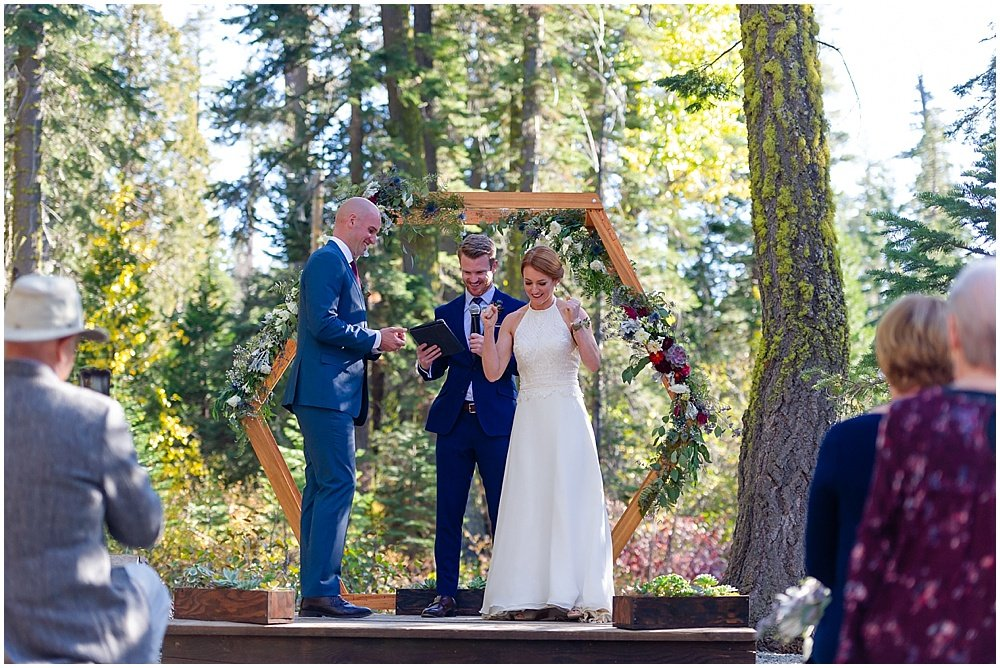bride looks stoked at gray eagle lodge wedding by chloe jackman photography