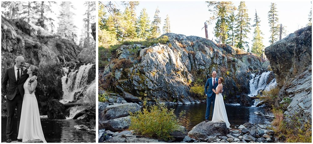 Bride and groom portraits by waterfall at gray eagle lodge wedding