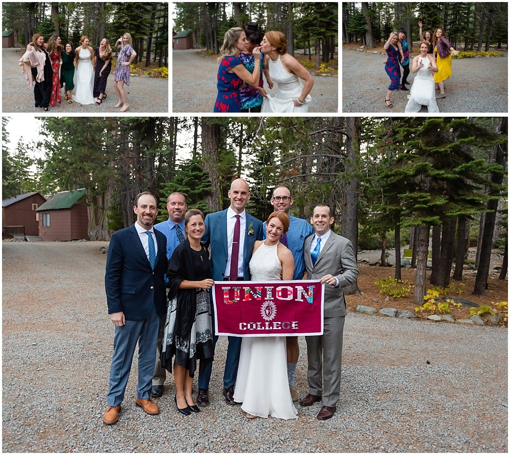 fun with friends at gray eagle lodge wedding
