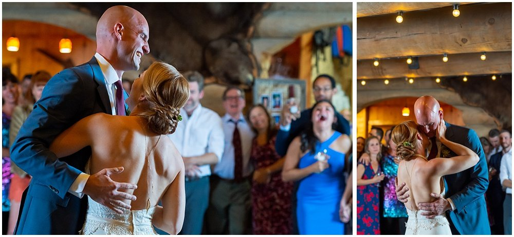 bride and groom dance at gray eagle lodge wedding by chloe jackman photogrpahy